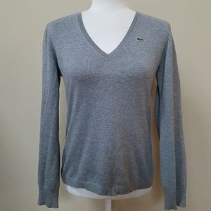 Lacoste Gray V-Neck Sweater